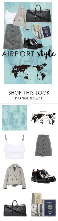 """""""Airport Style"""" by sarasera ❤ liked on Polyvore featuring Designers Guild, Alexander Wang, Topshop, Khaite, Eytys, Louis Vuitton and airportstyle"""