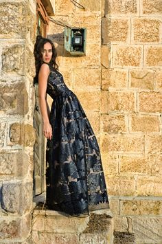 Luxurious Maxi Black Lace Evening Gown. $320.00, via Etsy.