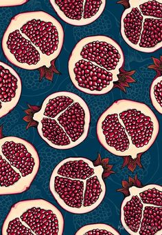 'Pomegranate slices' Throw Pillow by Katerina Kirilova - VERONİKA Cute Wallpaper Backgrounds, Cute Wallpapers, Iphone Wallpaper, Surface Pattern Design, Pattern Art, Pattern Drawing, Textures Patterns, Print Patterns, Food Patterns