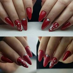 Red Nails for Christmas: TOP 27 Wonderful Suggestions . Holiday Nail Designs, Creative Nail Designs, Winter Nail Designs, Nail Art Designs, Red Christmas Nails, Xmas Nails, Holiday Nails, Nail Art Noel, Special Nails