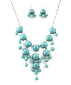 Look at this #zulilyfind! Silver & Turquoise Bauble Bib Necklace & Earring Set by MOA International Corp #zulilyfinds........9.99