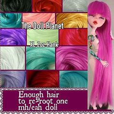 XL 2 oz Nylon Hair Color Hank for Rerooting Monster High & Ever After size Dolls