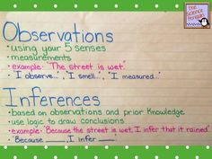 "Observations and Inferences Anchor Chart: This chart gives simple definitions of each, an example, and appropriate sentence stems to use.  I like to make my students use the ""Because __, I infer ___"" sentence when making inferences in science."