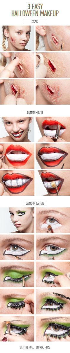 3 Easy Halloween Makeup Effects by bleu.