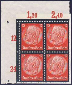 Germany, German Empire, Deutsches Reich 1934, Hindenburg-Trauer, 12 Pfg.-Plattendruck, 4-er Block aus der oberen linken Bogenecke, postfrisch Pracht (postfr., Mi.-Nr.552P/Mi.EUR 224,--). Price Estimate (8/2016): 35 EUR.