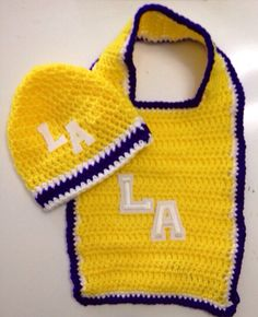 L A Lakers Bib and Beanie Crochet Gift Set by KARDsandGifts