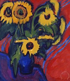 Ernst Ludwig Kirchner (1880 -1938) in 1905 stichtte hij met Karl Schmidt-Rotluff, Erich-Heckel en Fritz Bleyl de kunstenaarsgemeenschap 'Brucke'. De groep zocht in de afwijzing van de traditionele academische schilderkunst nieuwe uitdrukkingsvormen en liet zich daarbij vooral inspireren door Gauguin en de duistere vroege expressionist Edvard Munch. Ook de kennismaking van Van Gogh en de franse pointillisten had invloed op de ontwikkeling van Kirchners werk.
