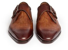 Magnanni Monkstrap Eyelet Cap Toe Shoes in Brown for Men (Neutral and Brown)