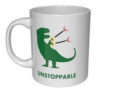 Unstoppable -- Funny T-Rex Short Arms Dinosaur Coffee Mug!! (11oz, White Funny U