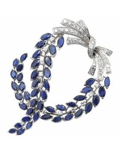 Massoni Sapphire and Diamond Brooch, 1970s