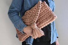 Chunky Knit Crochet Clutch Bag Knitted Bag T Shirt Yarn Bag