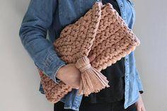 Chunky Knit Crochet Clutch Bag Knitted Bag T Shirt Yarn Bag
