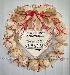 Baseball Wreath with burlap bow - Made with REAL balls! Home Base Sign -Softball-Home plate- Ballfield- MLB - Baseball-Front Door Wreath Baseball Wreaths, Baseball Crafts, Sports Wreaths, Baseball Mom, Baseball Games, Softball Wreath, Baseball Display, Baseball Stuff, Baseball Season