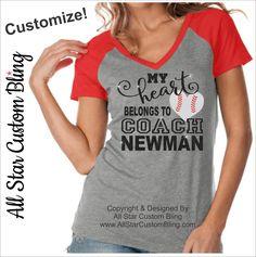 My Heart Belongs To The Baseball Coach Shirt, My Heart Belongs To The Coach Shirt, Custom Heart Football Coach Shirt,Baseball Coach Wife Tee by AllStarCustomBling on Etsy