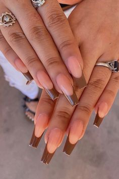 Brown Acrylic Nails, French Tip Acrylic Nails, Bling Acrylic Nails, Square Acrylic Nails, Best Acrylic Nails, Gel Nails, French Nails, Dope Nail Designs, Studded Nails