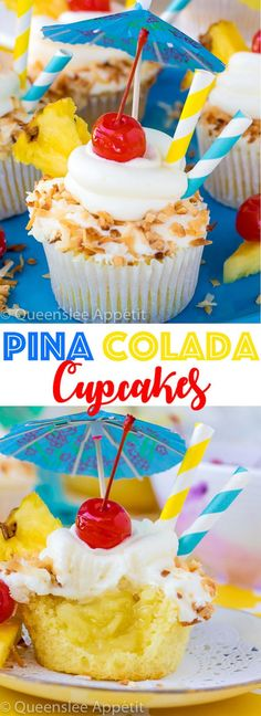 Pina Colada Cupcakes These Pina Colada Cupcakes are a yummy tropical treat perfect for the summertime! It starts with a moist Pina Colada flavoured cupcake, then it's filled with a pineapple sauce, frosted with a Pina Colada buttercream, dipped in toasted Gourmet Cupcakes, Cupcake Flavors, Baking Cupcakes, Cupcake Recipes, Bakery Recipes, Party Recipes, Pina Colada Cupcakes, Summer Cupcakes, Fun Cupcakes