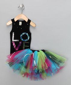 Look what I found on #zulily! Black Sequin 'Love' Tank & Tutu - Infant, Toddler & Girls by Brookie Jos #zulilyfinds