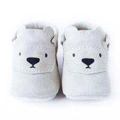 Chaussures bébé cuir - Ours Blanc