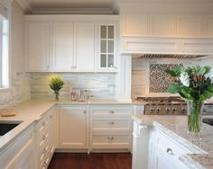 Like the tile w/ it's color variation, and love the accent above the stove. White Tile Backsplash Design, Pictures, Remodel, Decor and Ideas