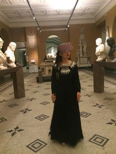 Monday evening at Victoria and Albert museum for Alexander McQueen Exhibition with Noel Stewart hat and Youxu Wang neck lace