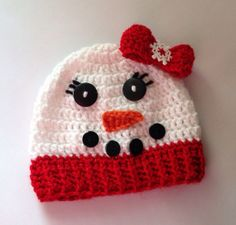 Girls Snowman Crochet Hat  Red & White by WillowHillKidsToo