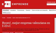 Byom!, mejor empresa valenciana en I+D+I  http://www.efeemprende.com/noticia/byom-mejor-empresa-valenciana-en-idi/