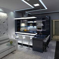 Modern Kitchen Interiors, Luxury Kitchen Design, Kitchen Room Design, Contemporary Kitchen Design, Home Room Design, Living Room Kitchen, Home Decor Kitchen, Interior Design Kitchen, Kitchen Walls