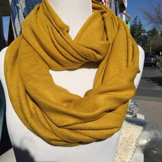 Mustard Yellow Infinity Scarf Full Loop Around Solid Color Infinity Scarf (16.00 USD) by AlphaShopBox