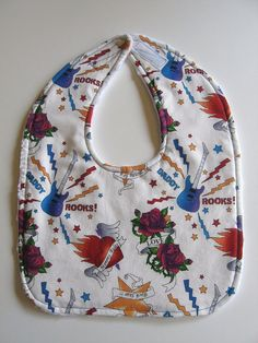 Reversible Tattoo Rock & Roll Baby Bib by GrandmaLindasHouse, $5.00
