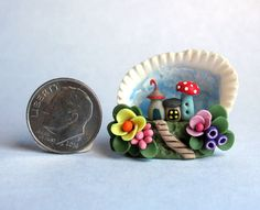 Handmade Miniature WHIMSICAL FAIRY HOUSE COLONY DIORAMA  - OOAK by C. Rohal #CRohal