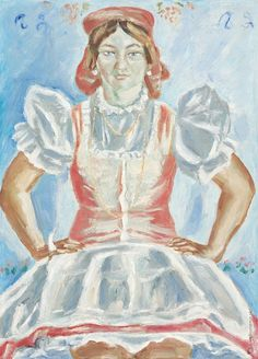 Ernest Zmeták - Bride from Bíňa / Nevesta z Bíne Folk Costume, Costumes, Folk Embroidery, Bratislava, Bride, History, Painting, Art, Fashion
