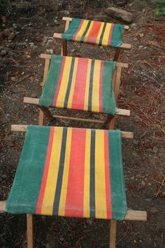 Canvas covered wooden camping stools