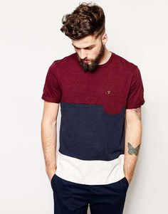 Love the farah vintage Farah Vintage T-Shirt with Color Block in Regular Fit.
