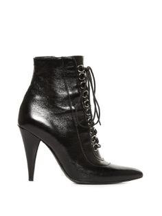 Fetish lace-up leather ankle boots   Saint Laurent   MATCHESFASHION.COM US