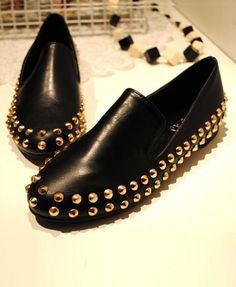 Black Punk Style Flat Shoes