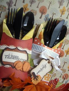 pillow boxes  as utensil holders nice idea for any holiday