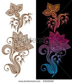 Abstract floral pattern or tattoo - stock vector
