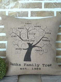 Tan personalized family tree pillow