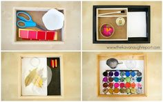 4 Montessori Art Trays for 2-year-olds. Here are easy and organized ways to introduce art to toddlers.