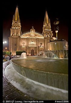 Fountain on Plazza de los Laureles and Cathedral by night. Guadalajara, Jalisco, Mexico,Part of gallery of color pictures of North America by professional photographer QT Luong, available as prints or for licensing. The Places Youll Go, Places To Go, Wonderful Places, Beautiful Places, South Of The Border, Gothic Architecture, Mexico Travel, Place Of Worship, Mexico City