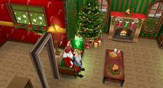 María José está sentada en las piernas de papá Noel pidiendole los regalos que quiere para Navidad