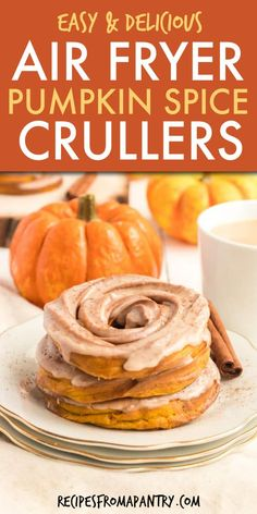 Air Fryer Pumpkin Spiced Crullers are full of your favorite fall flavors! It's e… Air Fryer Pumpkin Spiced Crullers are. French Cruller Recipe, Air Fryer Recipes Dessert, Appetizer Recipes, Apple Recipes, Pumpkin Recipes, Apple Desserts, Fall Recipes, Baking Recipes