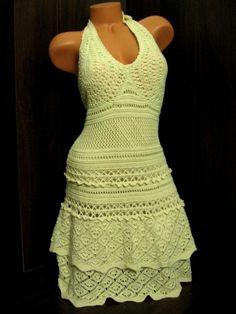 VICTORIAS SECRET NWOT Cotton Crochet Halter Dress M Natural Moda International #ModaInternational #Sundress #Casual