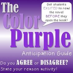 The Color Purple, by Alice Walker, can be a tough novel to teach in ANY classroom. Get your students UP and MOVING while they gear up to take on The Color Purple. This lesson not only lets the students think about certain themes they will be reading about in The Color Purple, but they will also be UP and MOVING while they defend WHY they think the way they think!This lesson includes:***A detailed teacher guide explaining the process of the activity*** The Anticipation Guide worksheetIn need…