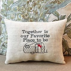 Camper Pillow, Hearts on Burlap, Quotes, Together is our Favorite Place to be, RV Accessory, Travel Trailer, Rustic Decor Gift