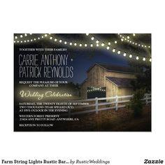 Farm String Lights Rustic Barn Wedding Invitations Barn Wedding Invitations, Beautiful Wedding Invitations, Wedding Rsvp, Farm Wedding, Wedding Ideas, Light Wedding, Green Wedding, Shower Invitations, Wedding Cards