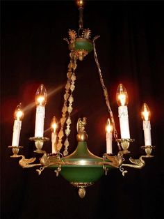 Antique French Bronze Empire Style Swan and Eagle Chandelier | eBay