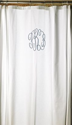 Monogrammed Shower Curtain how cute is that!
