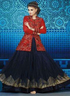 Magnetic Red And Blue Georgette Designer Anarkali \ Suithttp://www.angelnx.com/Salwar-Kameez