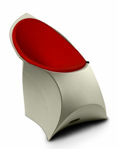 Flux chair with a red cushion